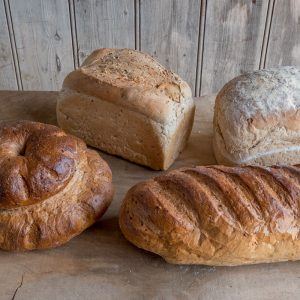 Wonderful range of malted wheat loaves including Cottage, Tin, Farmhouse and Bloomer