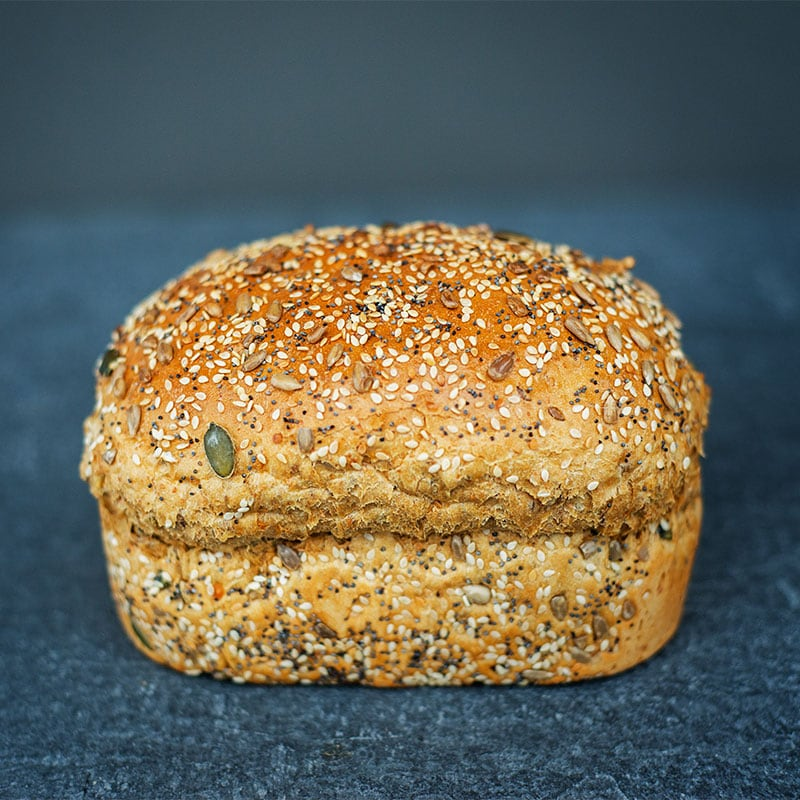 Taylors small multi-seed loaf - perfectly formed and bursting with sunflower, sesame and pumpkin seeds!